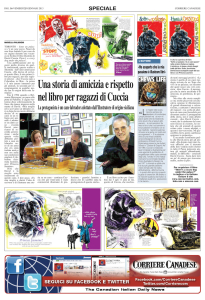 A wonderful interview and review, courtesy of Corriere Canadese, the only daily English-Italian newspaper in Toronto!